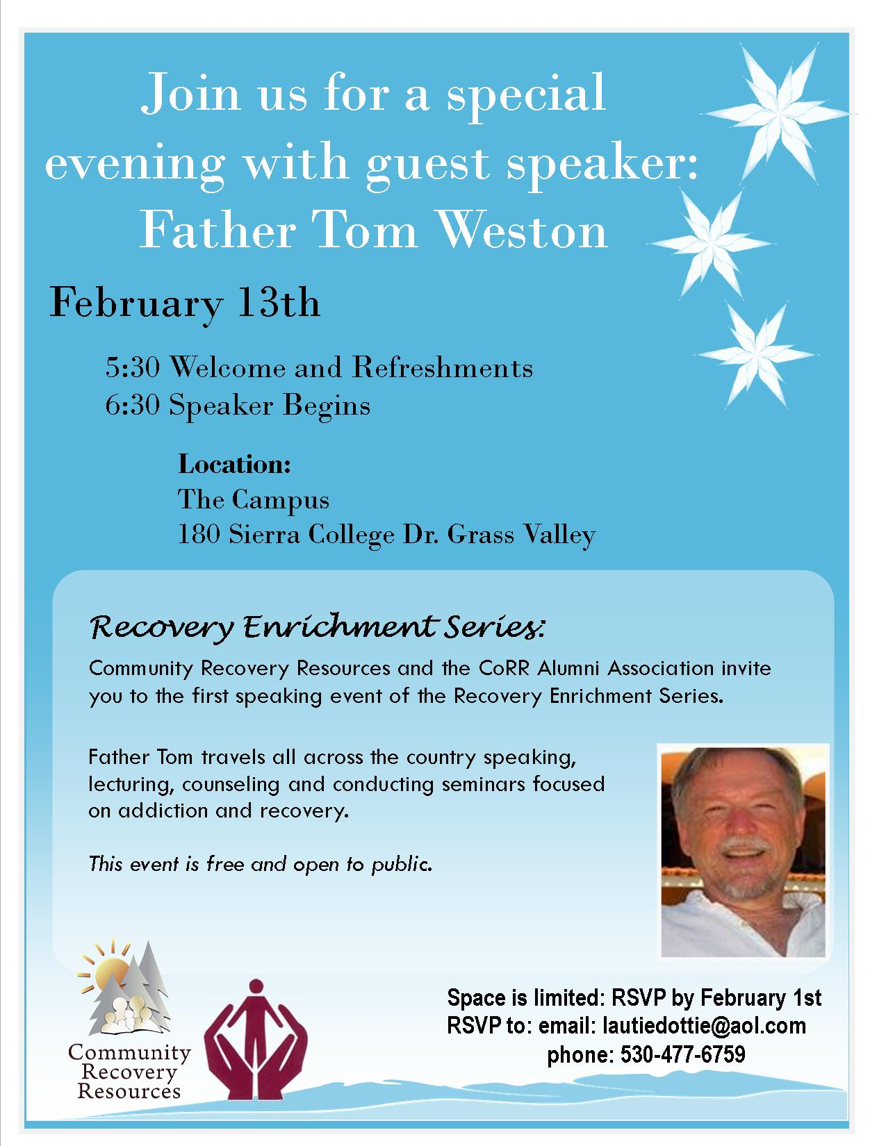 community recovery resources special guest speaker father tom